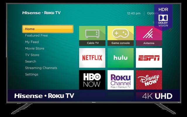 """4K UHD Hisense Roku TV with HDR (74.5"""" diag)"""